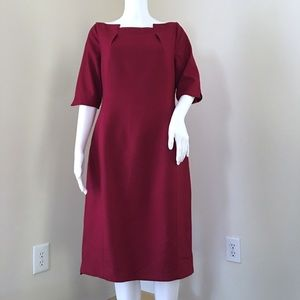 Elie Tahari Dress 12 Cranberry Wool Conservative